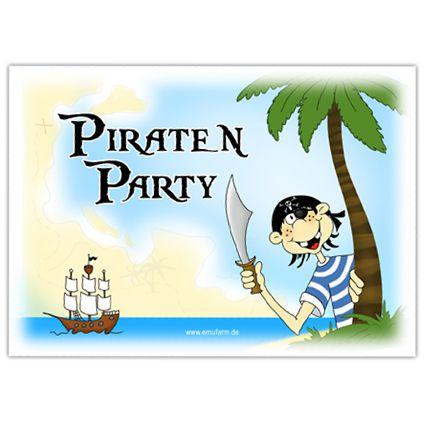 einladungen zum kindergeburtstag pirat - emufarm, Einladung
