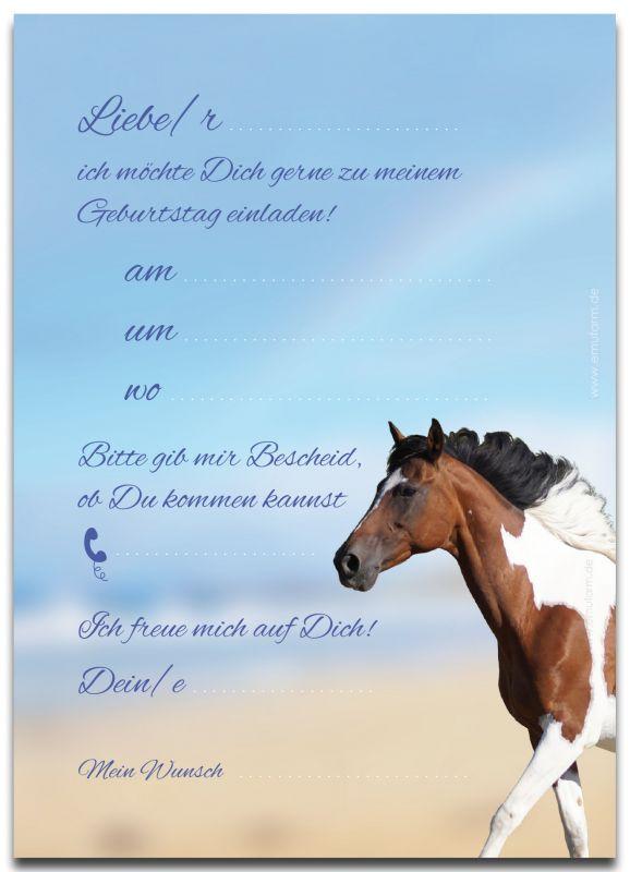 einladungen zum kindergeburtstag pferd - emufarm, Einladungsentwurf