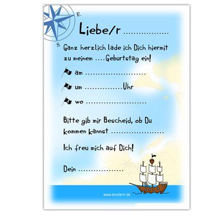 einladungen zum kindergeburtstag pirat - emufarm, Einladungen