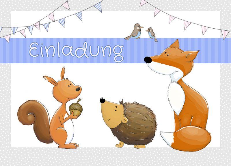 """Einladungen zum Kindergeburtstag """"Waldtiere"""" - emufarm"""
